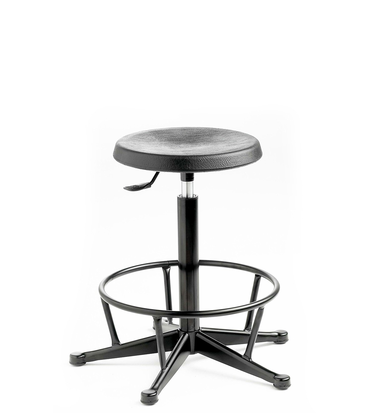 C170 - Industrial Cushioned Polyurethane high stool with feet (steel foot ring) 550-800mm height adjustment