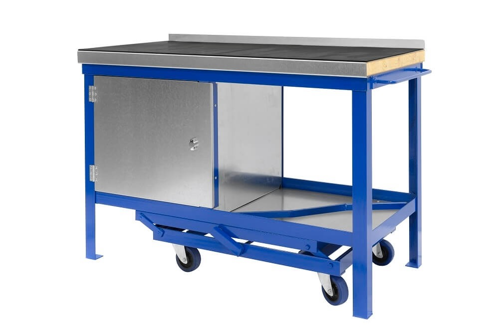 Black on Rubber top mobile workbenches