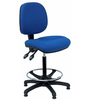 C150 - Fully Ergonomic Draughtman's high chair with feet (steel foot ring) 620-800mm height adjustment.