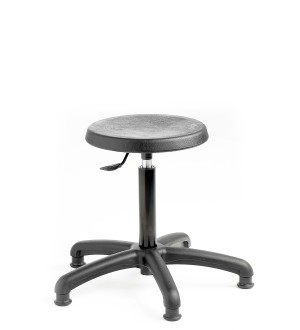 C160 - Industrial Cushioned Polyurethane low stool with feet  460-660mm height adjustment.