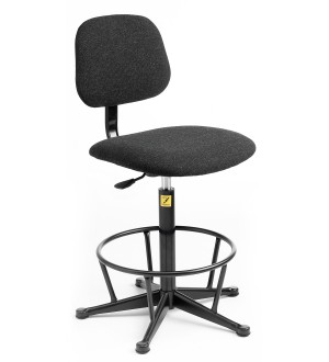C70 - ESD Chair with feet (fixed steel foot ring) 550-800mm height adjustment