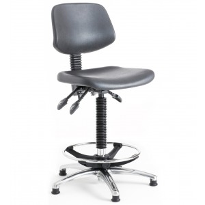 C130 - Contoured polyurethane seat and back (low chair) 470-600mm height adjustment.