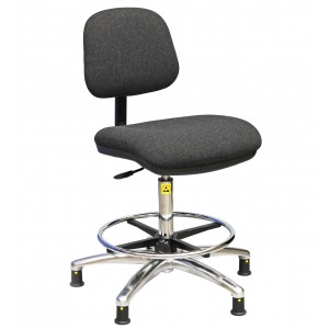 C90 - ESD Ergonomic High Chair (steel foot ring) 500-690mm height adjustment.